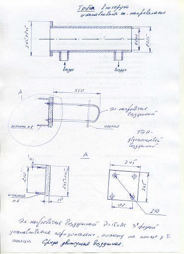 Электронагреватель воздушный для установки в трубу